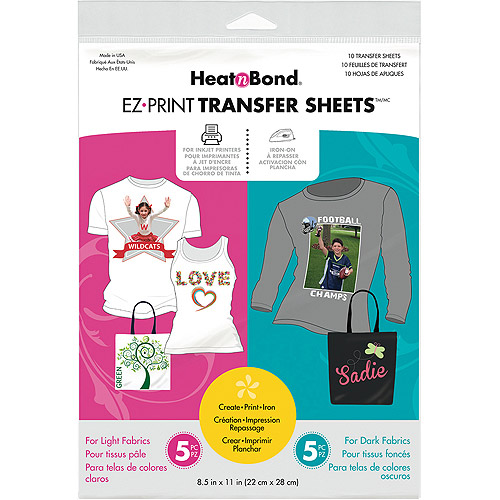 "Heat'n Bond EZ Print Transfer Sheet Combo, 8.5"" x 11"", 10-Pack"