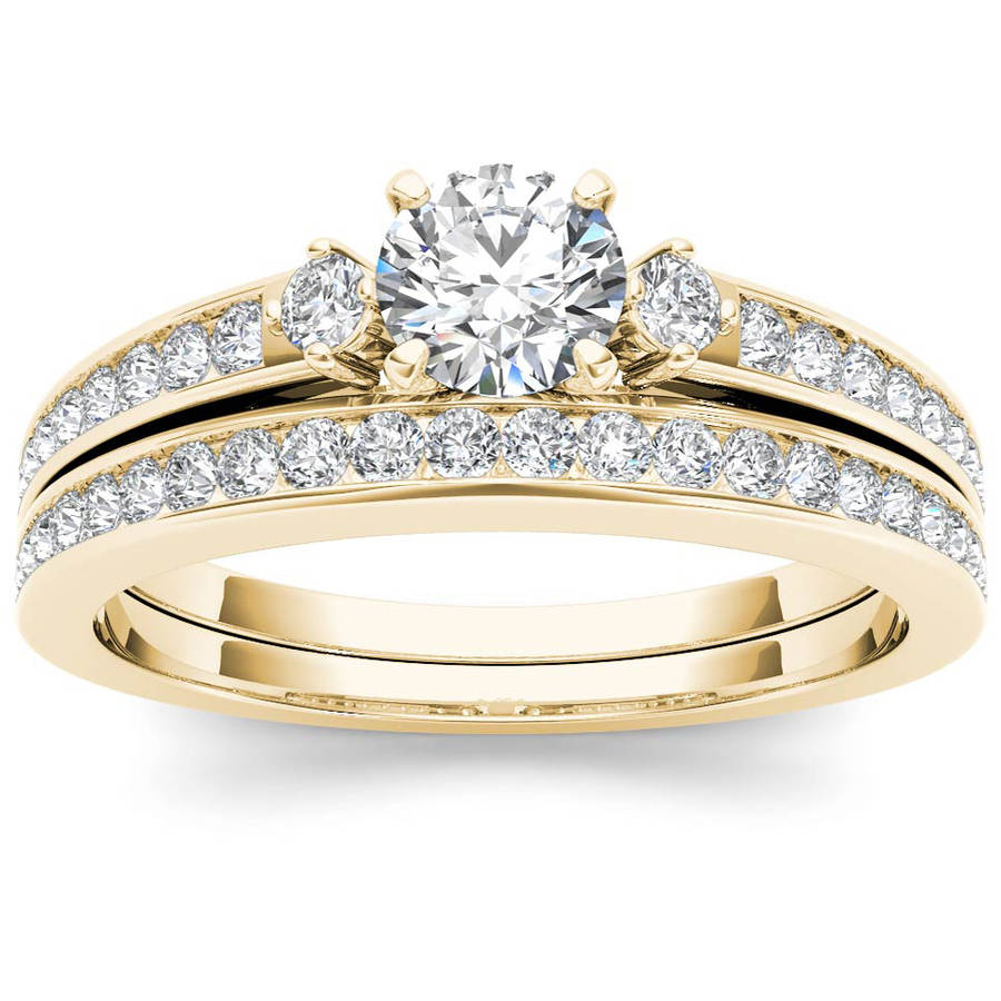 Imperial 1 Carat T.W. Diamond Three-Stone 14kt Yellow Gold Engagement Ring Set