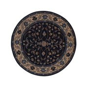 Navy Blue Hand-Tufted Floral Round 8x8 Oushak Wool Oriental Area Rug