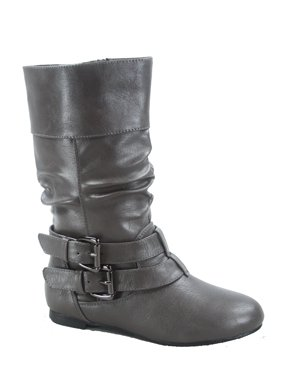 Youth's Girls' Kid's Causal Round Toe Buckles Flat Heel Zip Mid Calf Riding School Boots Shoes