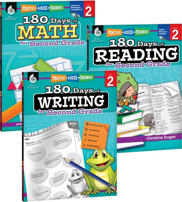 180 Days: 180 Days of Reading, Writing and Math for Second Grade 3-Book Set (Paperback)