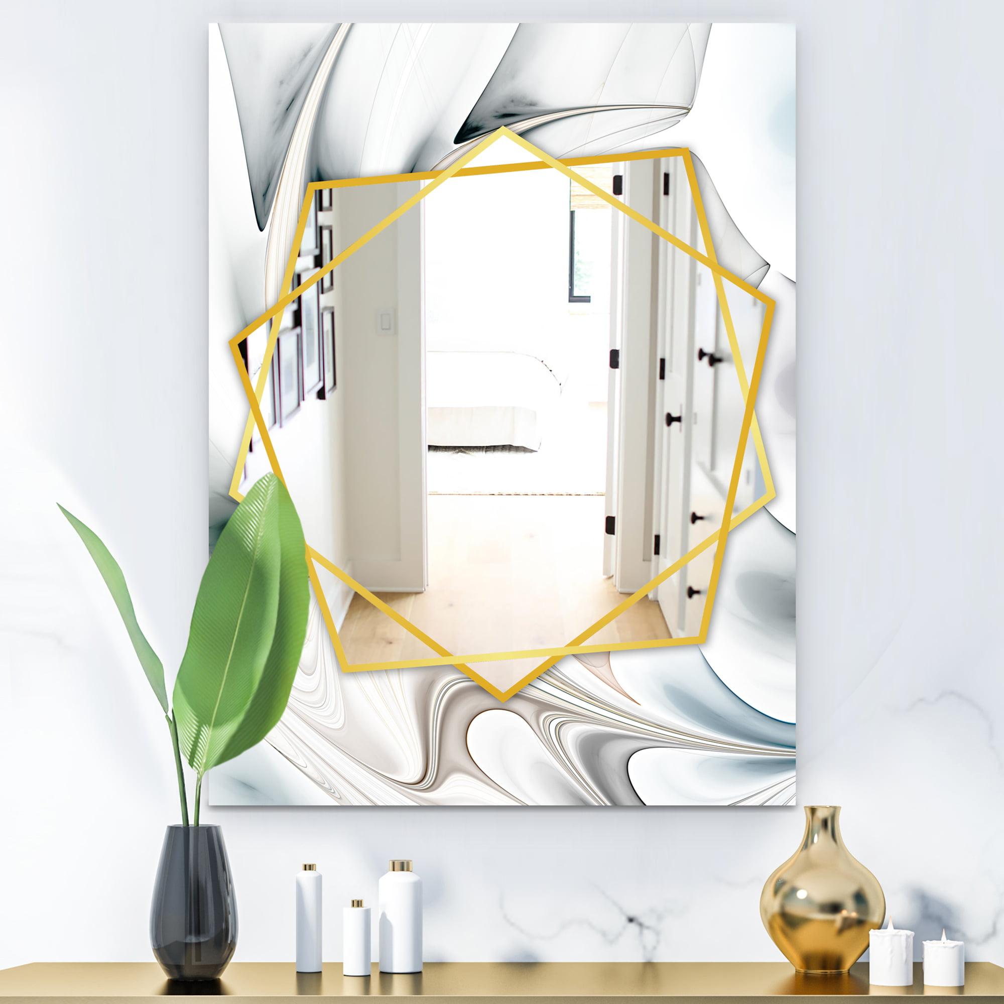 Designart White Stained Glass Floral Art Modern Mirror Contemporary Wall Mirror Walmart Com Walmart Com
