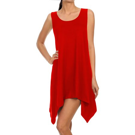 Dress Handkerchief Hem (Long Tunics for Women Sleeveless Tunic Tops Handkerchief Hem Loose Tank Tunic)