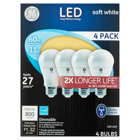 ge led 11w 800 lumens a19 soft white bulbs 4 count walmart inventory checker brickseek. Black Bedroom Furniture Sets. Home Design Ideas