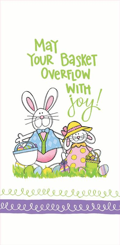 May Your Basket Overflow with Joy Easter Bunny Flour Sack 27 Inch Kitchen Towel by Kay Dee