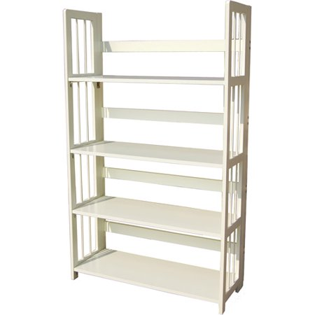 4-tier Folding Bookcase, White - 4-tier Folding Bookcase, White - Walmart.com