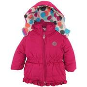 Pink Platinum Baby Girls Polka Dot Fleece Lined Lined Jacket Winter Puffer Coat