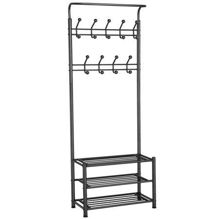 Multipurpose Metal Entryway Coat Rack 18 Hanger Hooks Clothes Shoes Hats Bags Stand Rack 3-Tier Shoe Rack Hall Tree