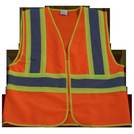 OV2-CB1-4X-5X Safety Vest Ansi Class Ii Orange Solid Contrast Binding, 4X & 5X - image 1 of 1