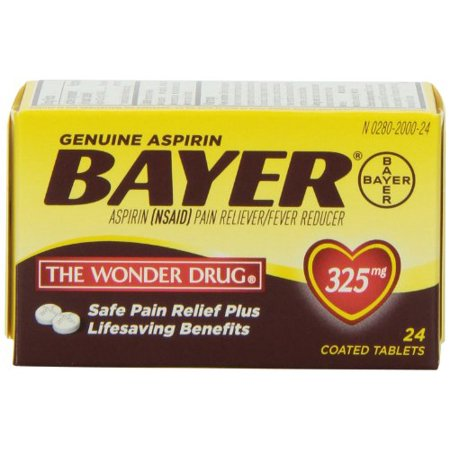 Genuine Bayer Aspirin Pain Reliver/Fever Reducer 325mg 24 Tablets