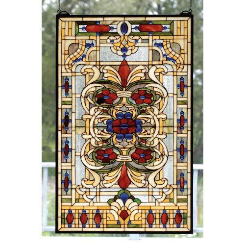 Meyda Tiffany 71268 Stained Glass Tiffany Window from the Violet Rosette Collection