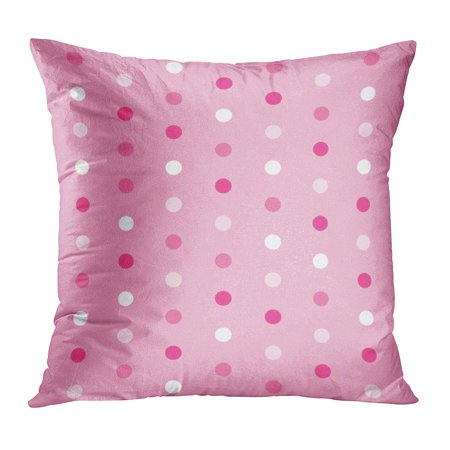 ECCOT Circle Polka Dots Pattern Pink Contemporary Cute Modern Patterned Retro Pillowcase Pillow Cover Cushion Case 16x16 inch