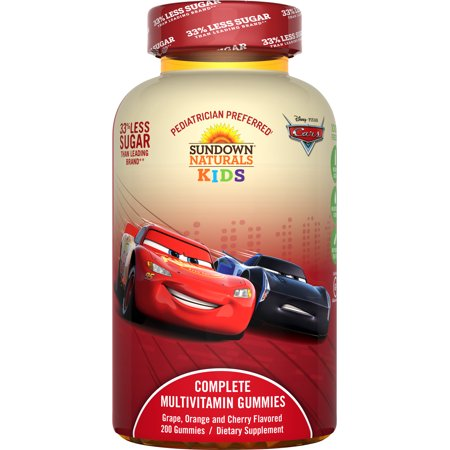 Sundown Naturals Kids Disney Cars 3 Complete Multivitamin Gummies, Grape Orange Cherry, 200 Ct