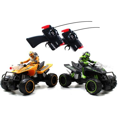 Jada Toys Battle Machines Radio-Controlled Quad Bike Laser Combat, Set of 2 (Green & Yellow)