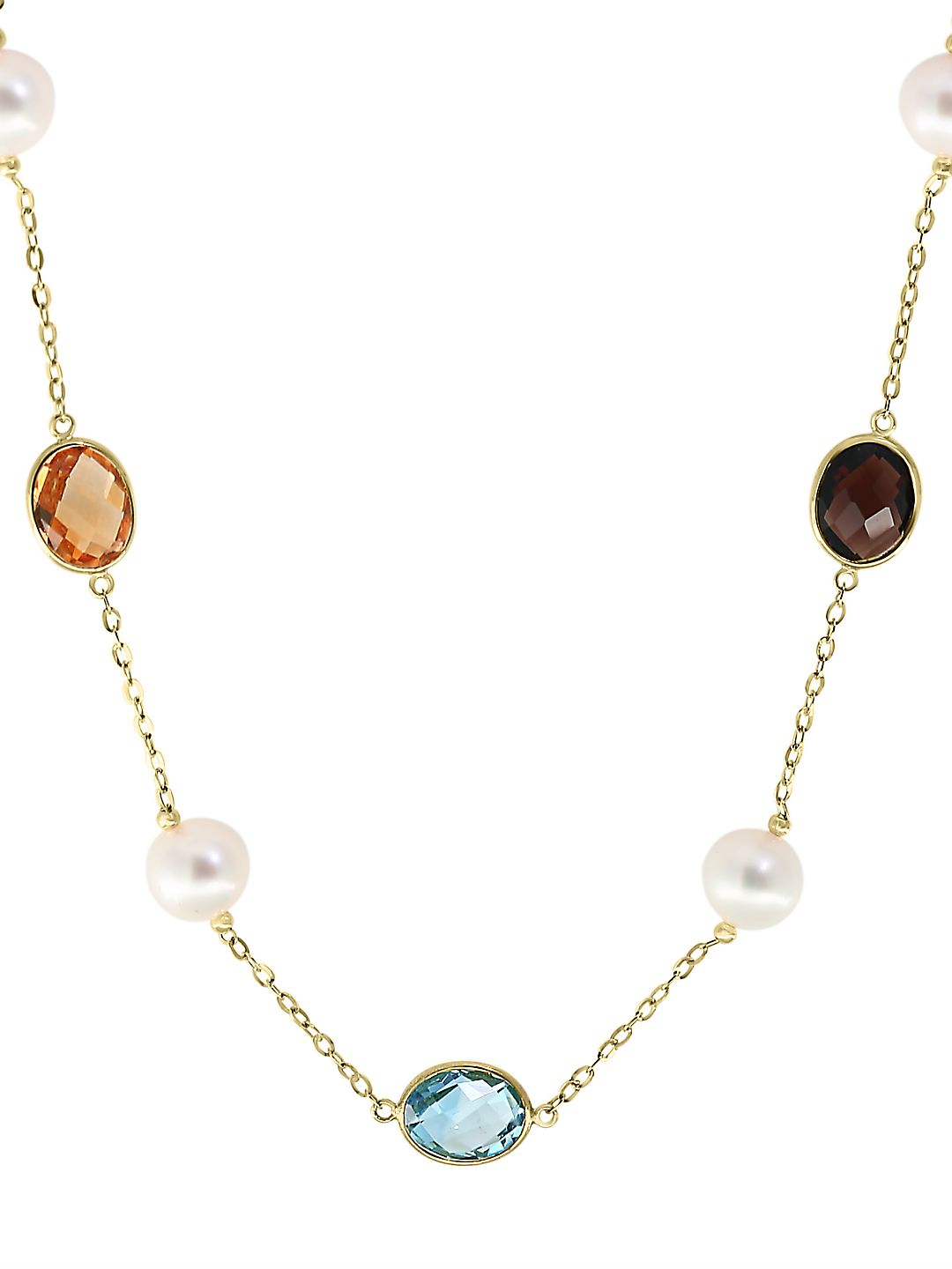 Mosaic 14K Yellow Gold, 9MM Pearl and Multi-Stone Station Necklace