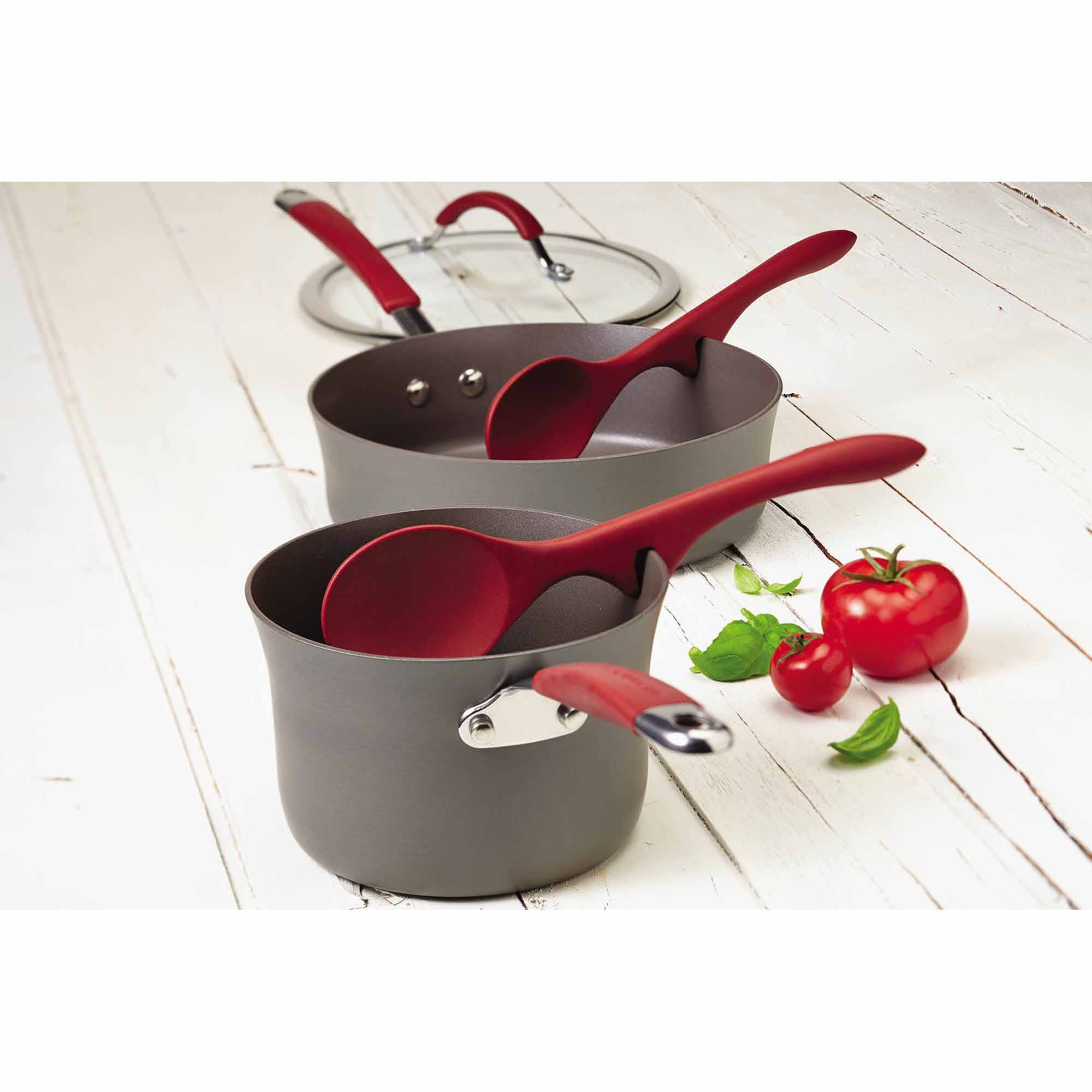 Rachael Ray Cucina Tools 2-Piece Lazy Solid Spoon Set, Cranberry Red