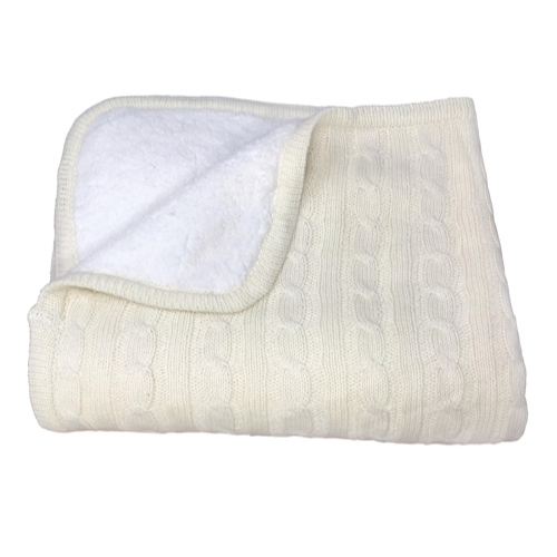 effe bebe Knoten Cable Knit Sherpa Baby Blanket 30x40 Cream White