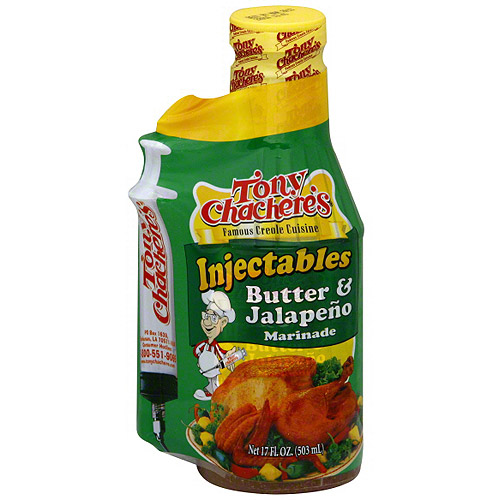 Tony Chachere's Famous Creole Cuisine Butter & Jalapeno Injectables Marinade, 16 oz (Pack of 6)