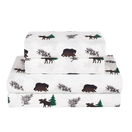 Rustic Bear Moose Queen Size 4 Piece Sheet Set Microfiber Cabin Hunting