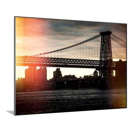 Instants of NY Series - The Williamsburg Bridge at Nightfall - Lower East Side of Manhattan Wood Mounted Print Wall Art By Philippe Hugonnard