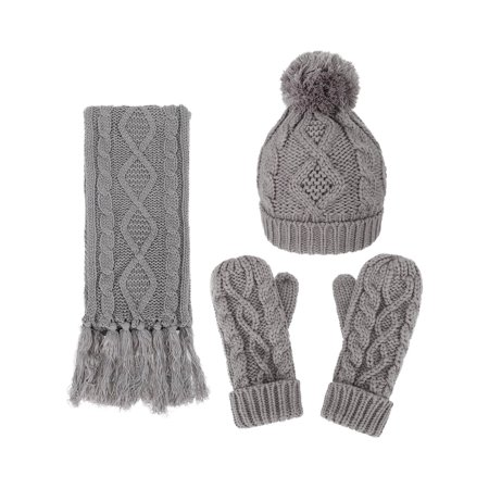 3 in 1 Warm Thick Cable Knitted Hat Scarf & Gloves Winter Set, Grey