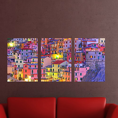Brewster Home Fashions Euro Colorful Town Panoramic Wall Decal