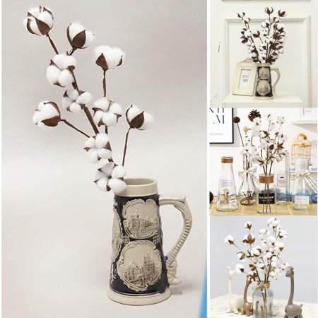 Outtop Naturally Dried Cotton Stems Farmhouse Artificial Flower Filler Floral Decor