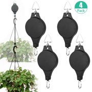 TINKER 1/4 Pack Plant Pulley Retractable Hanger, Hanging Planters Flower Basket Hook, Plant Hanger Hanging Garden Baskets Pots and Birds Feeder Hang High Up and Pull Down to Water and Feed, Black