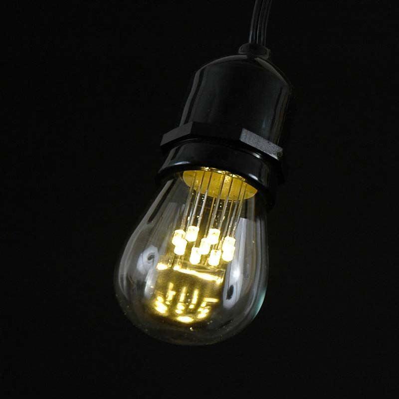 100 Foot S14 LED Edison Outdoor String Lights   Suspended Socket String  Grade Commercial   Lights