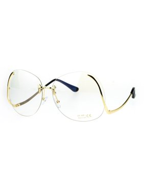 ff0c1c5e6c Product Image Womens Swan Drop Temple Rimless Granny Funky Oversize  Butterfly Sunglasses Clear