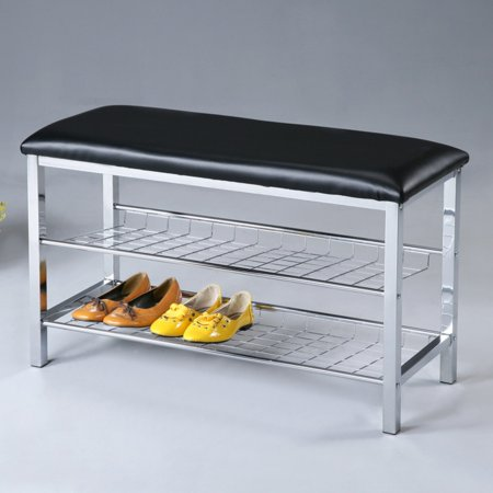 Roundhill Metal Shoe Bench with Faux Leather Seat, Chrome and - Chrome Leather Bench