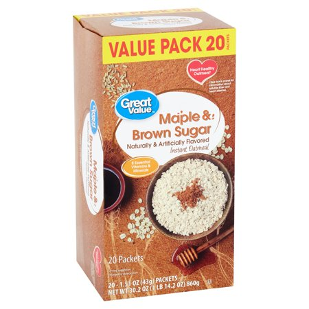 Great Value Maple & Brown Sugar Instant Oatmeal Value Pack, 1.51 oz, 20 (Instant Oatmeal Maple And Brown Sugar Nutrition)