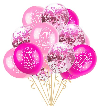 "Outtop 15pcs 12"" Foil Latex Confetti Balloon Baby One Year Old Happy Birthday Party"