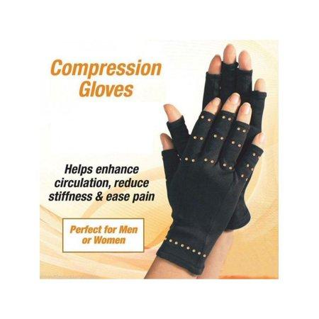 VICOODA 1 Pair Compression Anti Arthritis Copper Fingerless Gloves Therapy Circulation Relief Grip Support for Fist