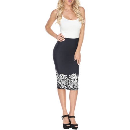 White Mark Women's Vintage Printed Pencil Midi Skirt