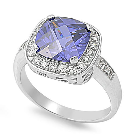 Embraced Square Simulated Tanzanite Cubic Zirconia Ring Sterling Silver 925