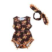ARDYAL JELLY Baby Girl Cloth Sleeveless Bodysuit with Bow Headband Sets