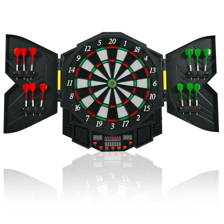 Costway Professional Electronic Dartboard Cabinet Set w/ 12 Darts Game Room LED