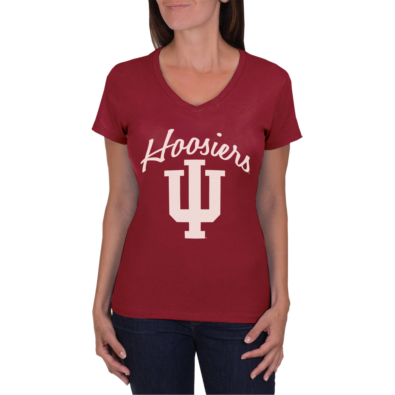 NCAA Indiana Hoosiers Women's V-Neck Tunic Cotton Tee Shirt