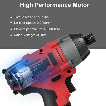 18V Cordless Driver Impact Tool Kit 1/4'' Chuck 2000mAh Li-Ion w/ LED Light - image 2 of 10