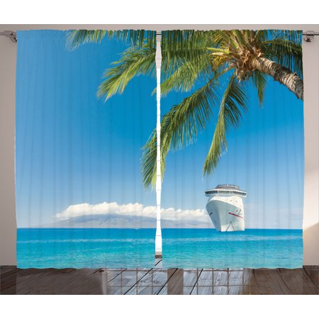 Nautical Decor Curtains 2 Panels Set, Large Cruise Ship Heads Tropical Sandy Beach Exotic Scene Coastal Theme, Window Drapes for Living Room Bedroom, 108W X 84L Inches, Turquoise Green, by Ambesonne ()