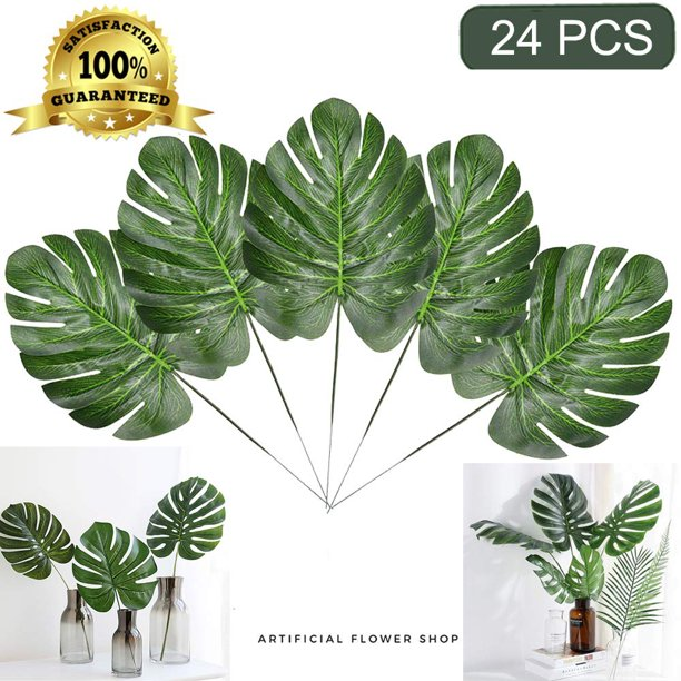 Coolmade Faux Palm Leaves With Stems Artificial Tropical Plant Imitation Safari Leaves Hawaiian Luau Party Suppliers Decorations 24pcs Turtle Leaf Bundle Walmart Com Walmart Com