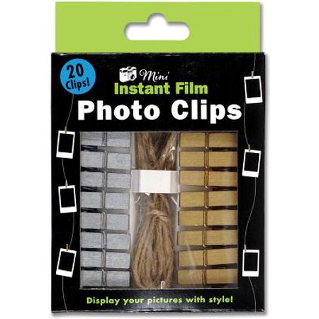 Gold & Silver Instant Film Photo Clips (Set of 20, with Cord)