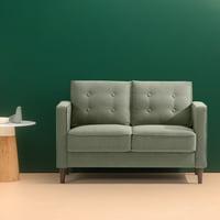 "Zinus Lauren Mid-Century Button Tufted Upholstered 53"" Loveseat, Pear Green"