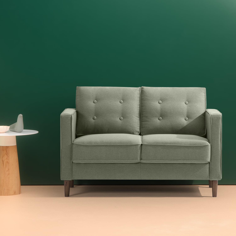 "Zinus Lauren Mid-Century Button Tufted Upholstered 52"" Loveseat, Pear Green"