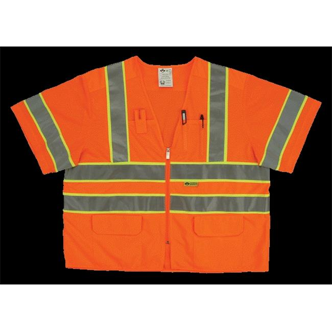2W MS339C-3 XL Class 3 Mesh And Solid, Ansi Vest - Orange, Extra Large
