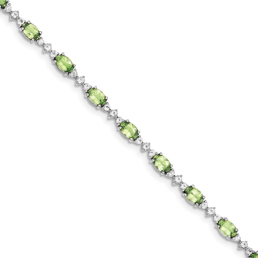 Sterling Silver Peridot White Topaz Bracelet. Gem Wt- 12.29ct