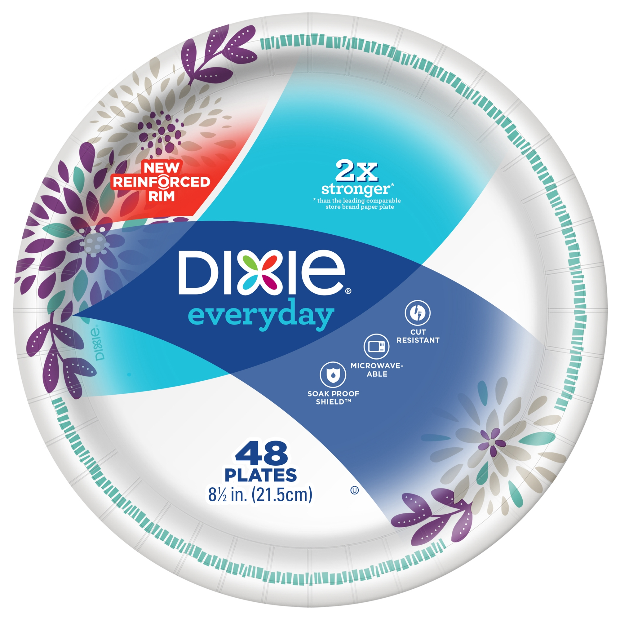 "Dixie Everyday Paper Lunch Plates, 8.5"", 48 Count"