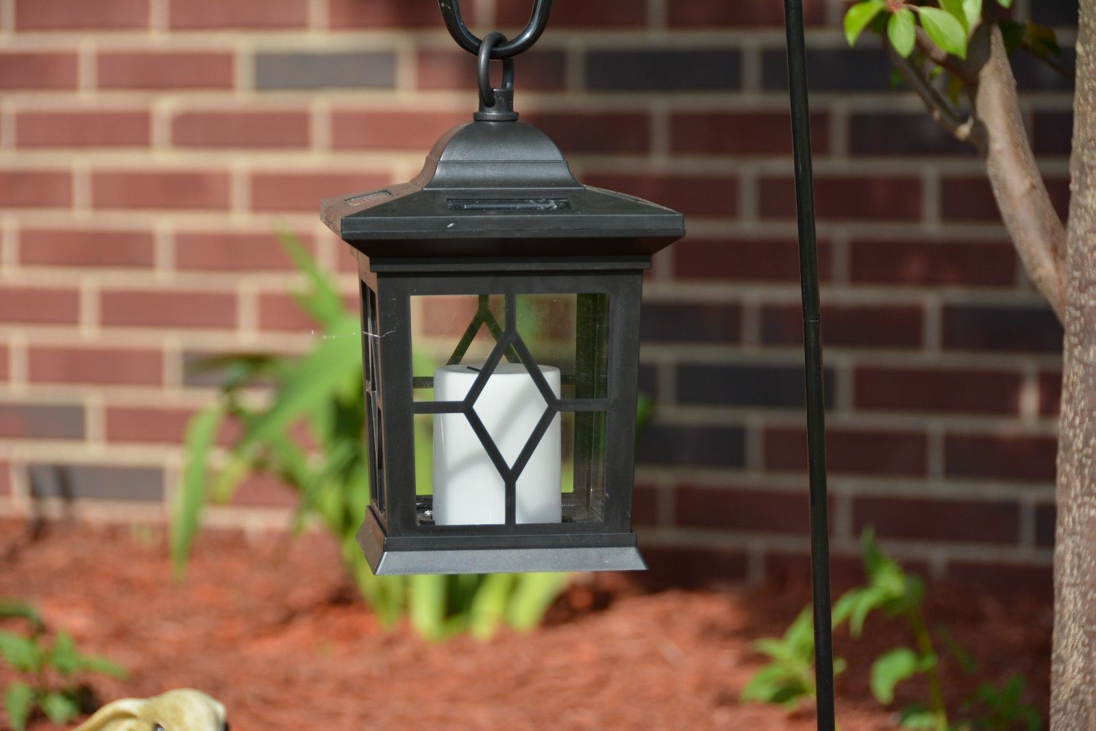 4 pack LED Solar Power Outdoor Hanging Venetian Black Lantern w amber Light by