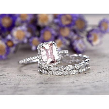 Trim Emerald - Beautiful 2 Carat Emerald Cut Morganite and Diamond Trio Wedding Ring Set in White Gold